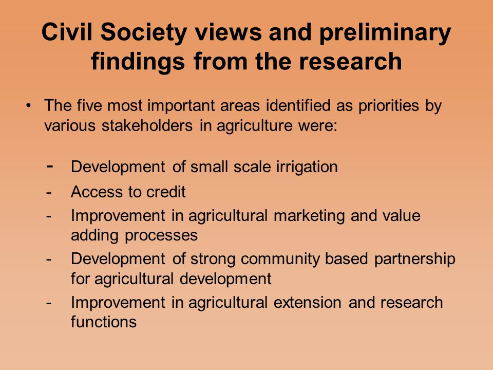 Why the Multiplicity of Agricultural Initiatives.