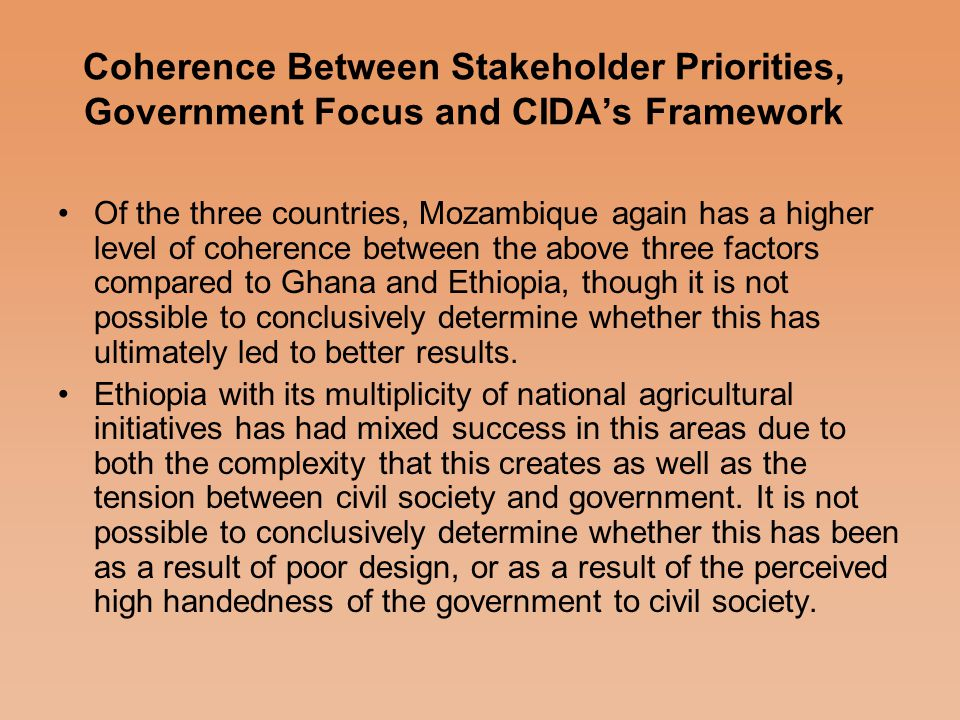 Civil Society views and preliminary findings from the research - Development of small scale irrigation -Access to credit -Improvement in agricultural marketing and value adding processes -Development of strong community based partnership for agricultural development -Improvement in agricultural extension and research functions The five most important areas identified as priorities by various stakeholders in agriculture were: