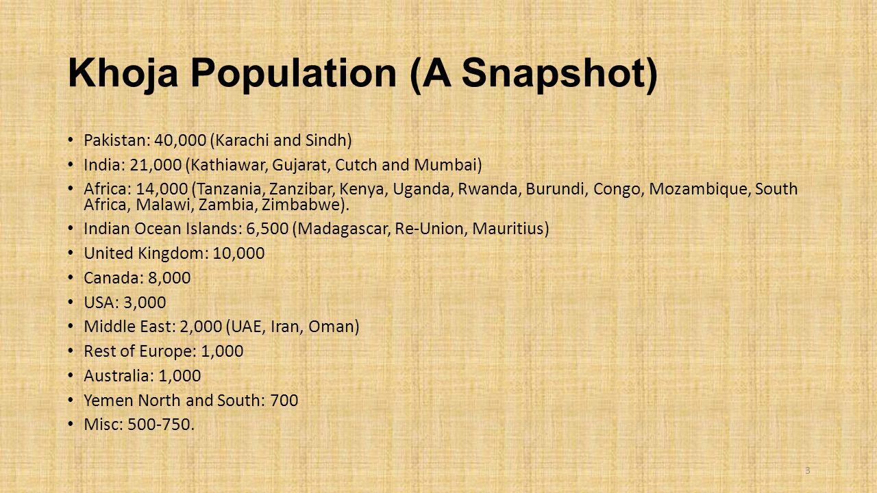 Khoja Population (A Snapshot) Pakistan: 40,000 (Karachi and Sindh) India: 21,000 (Kathiawar, Gujarat, Cutch and Mumbai) Africa: 14,000 (Tanzania, Zanzibar, Kenya, Uganda, Rwanda, Burundi, Congo, Mozambique, South Africa, Malawi, Zambia, Zimbabwe).