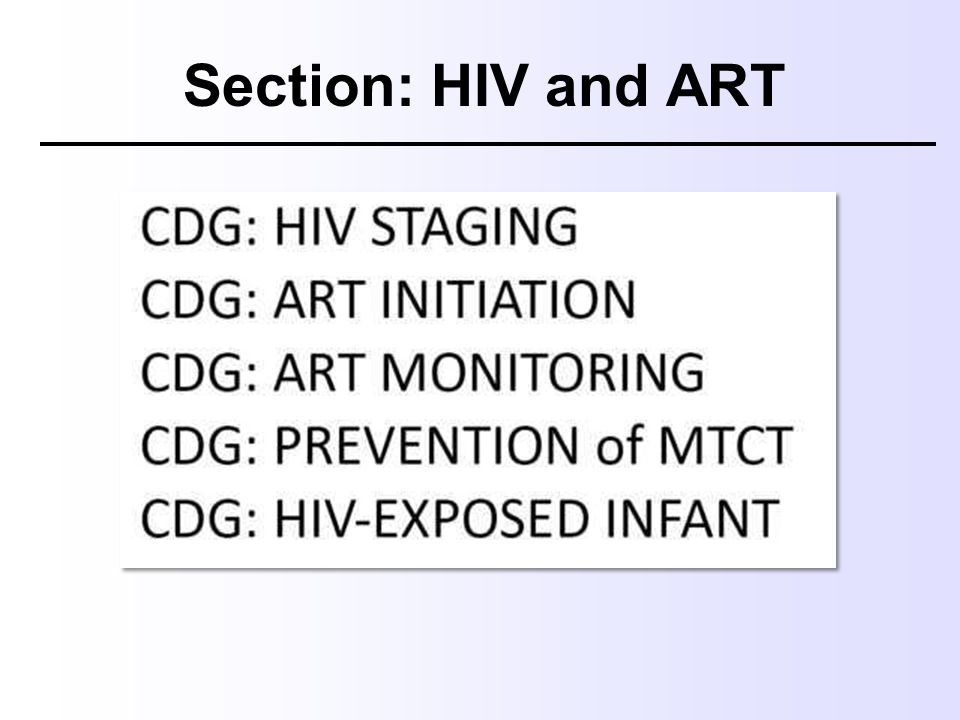 Section: HIV and ART