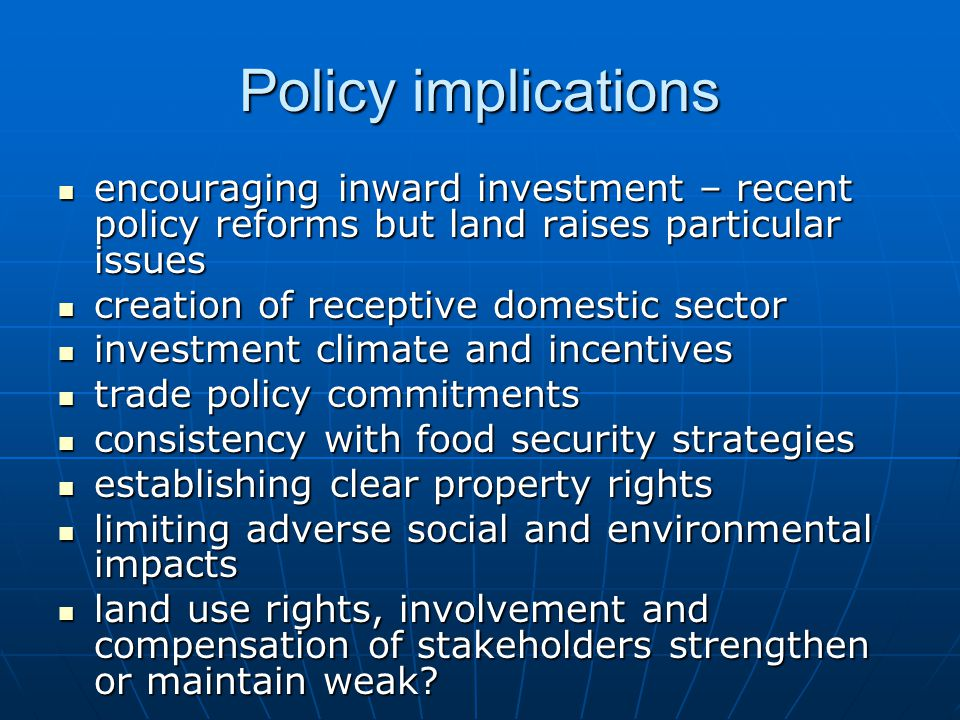 Policy implications international codes of conduct and global corporate social responsibility initiatives international codes of conduct and global corporate social responsibility initiatives international investment agreements international investment agreements dispute settlement dispute settlement WTO disciplines (URAA, SPS-TBT, TRIPS) WTO disciplines (URAA, SPS-TBT, TRIPS)