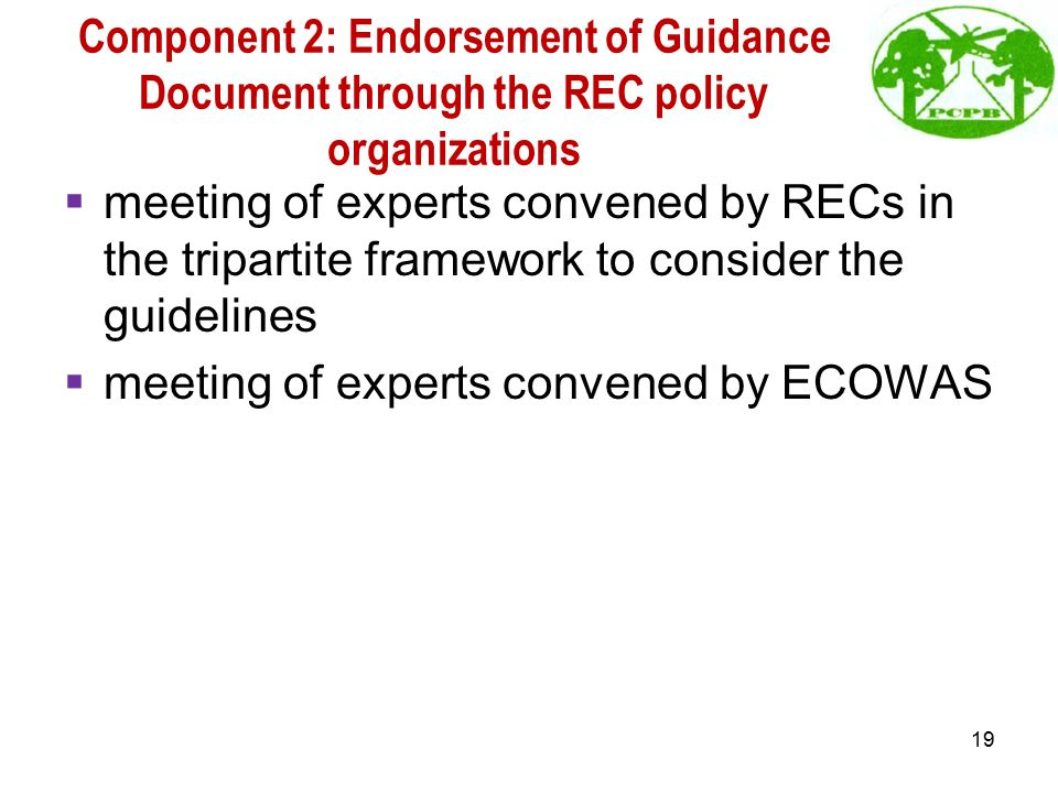 Component 2: Endorsement of Guidance Document through the REC policy organizations  meeting of experts convened by RECs in the tripartite framework to consider the guidelines  meeting of experts convened by ECOWAS 19