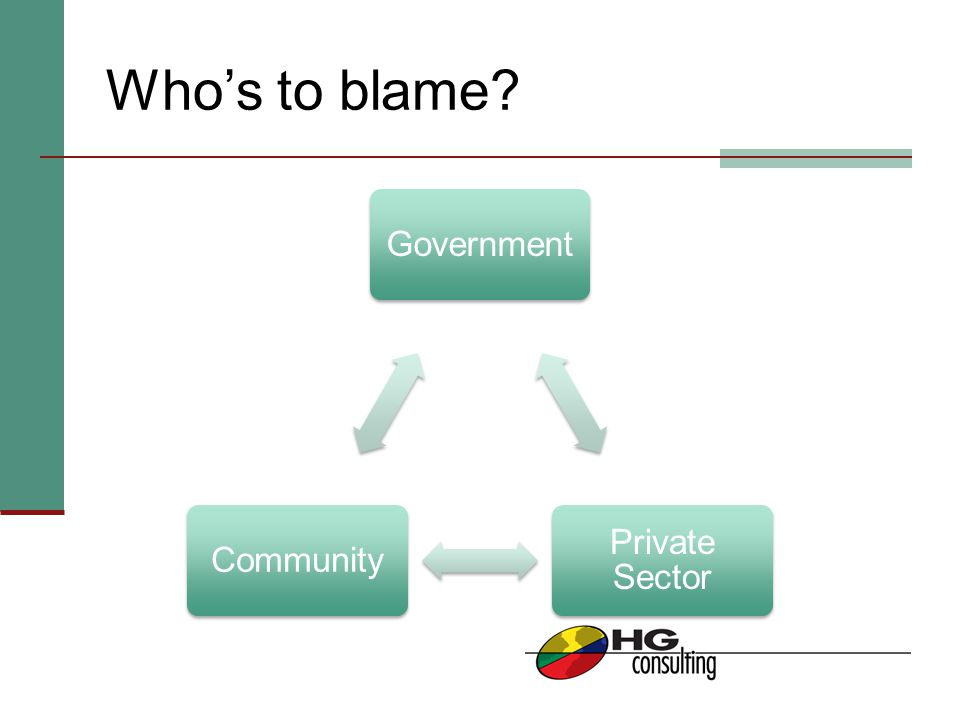 Who's to blame? Government Private Sector Community