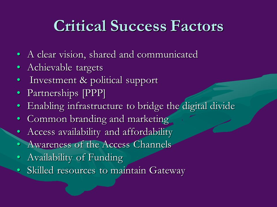 Critical Success Factors A clear vision, shared and communicatedA clear vision, shared and communicated Achievable targetsAchievable targets Investmen