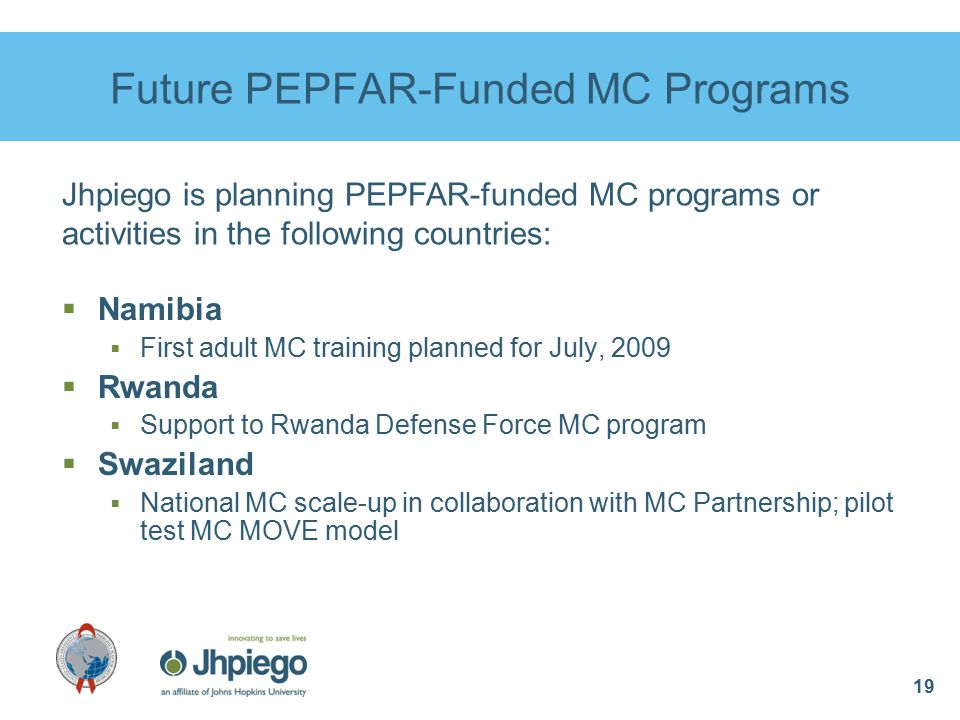 19 Future PEPFAR-Funded MC Programs  Namibia  First adult MC training planned for July, 2009  Rwanda  Support to Rwanda Defense Force MC program  Swaziland  National MC scale-up in collaboration with MC Partnership; pilot test MC MOVE model Jhpiego is planning PEPFAR-funded MC programs or activities in the following countries: