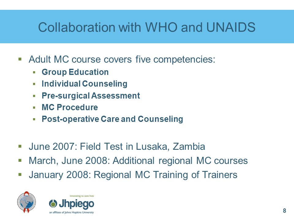 19 Future PEPFAR-Funded MC Programs  Namibia  First adult MC training planned for July, 2009  Rwanda  Support to Rwanda Defense Force MC program  Swaziland  National MC scale-up in collaboration with MC Partnership; pilot test MC MOVE model Jhpiego is planning PEPFAR-funded MC programs or activities in the following countries: