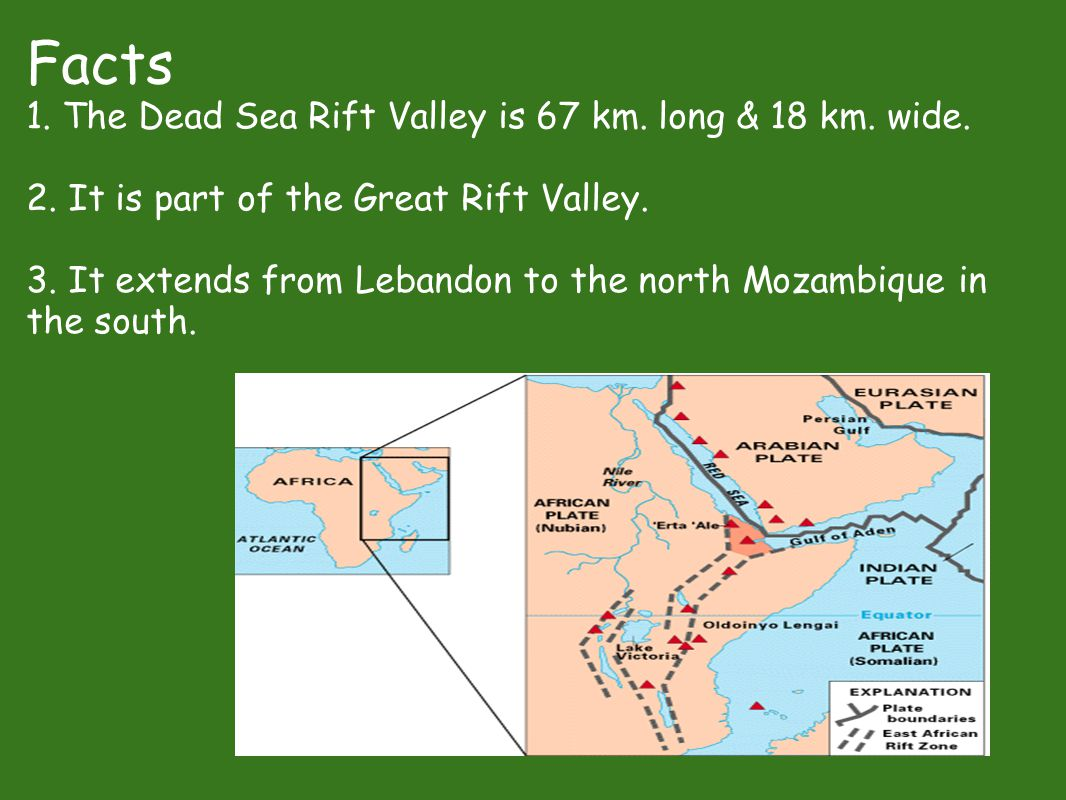 Facts 1. The Dead Sea Rift Valley is 67 km. long & 18 km. wide. 2. It is part of the Great Rift Valley. 3. It extends from Lebandon to the north Mozam