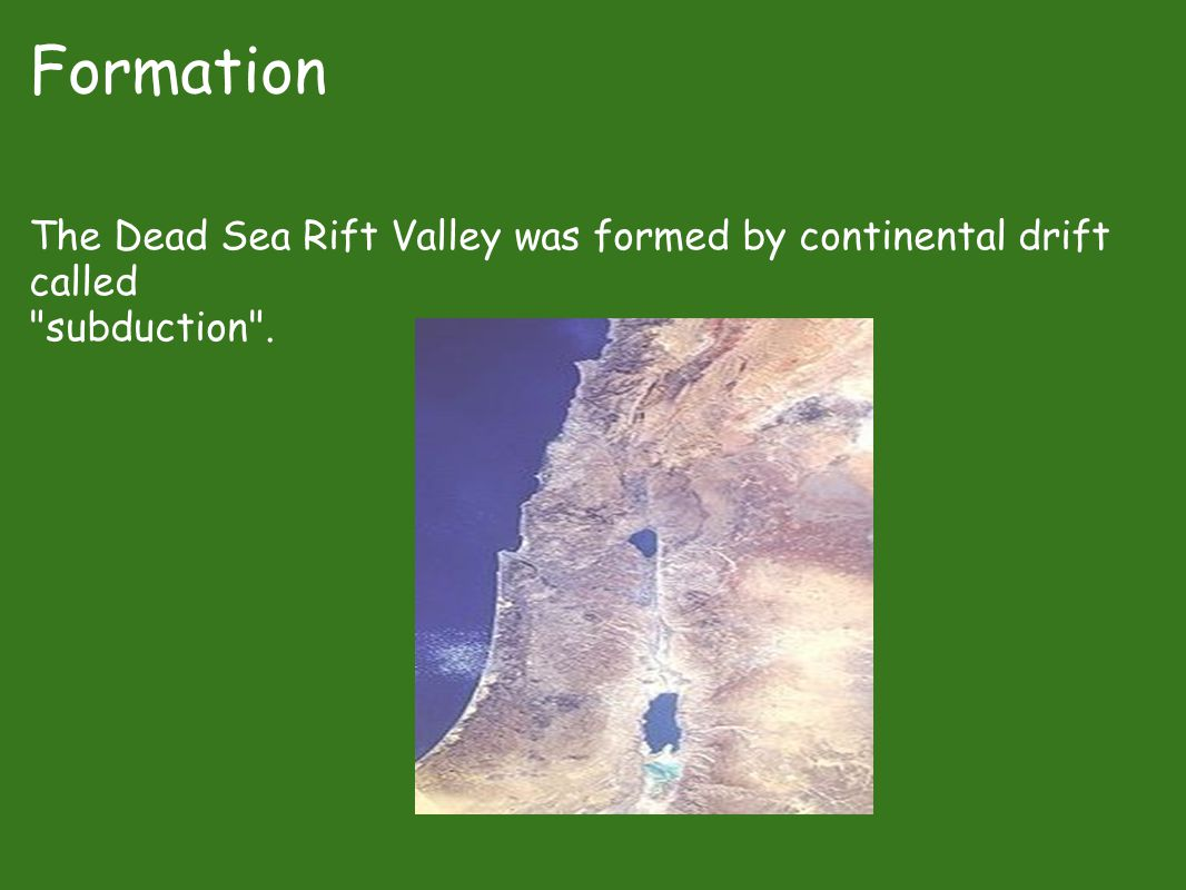 Formation The Dead Sea Rift Valley was formed by continental drift called subduction .