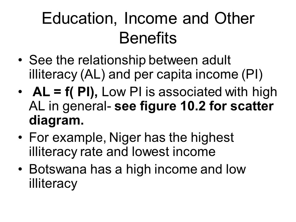 Education, Income and Other Benefits See the relationship between adult illiteracy (AL) and per capita income (PI) AL = f( PI), Low PI is associated with high AL in general- see figure 10.2 for scatter diagram.