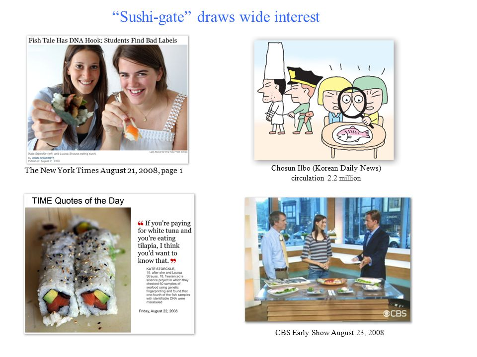 The New York Times August 21, 2008, page 1 Chosun Ilbo (Korean Daily News) circulation 2.2 million Sushi-gate draws wide interest CBS Early Show August 23, 2008