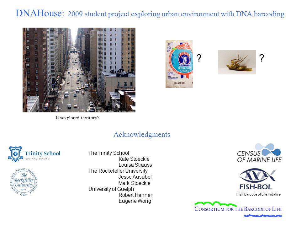 The Trinity School Kate Stoeckle Louisa Strauss The Rockefeller University Jesse Ausubel Mark Stoeckle University of Guelph Robert Hanner Eugene Wong Fish Barcode of Life Initiative Unexplored territory.