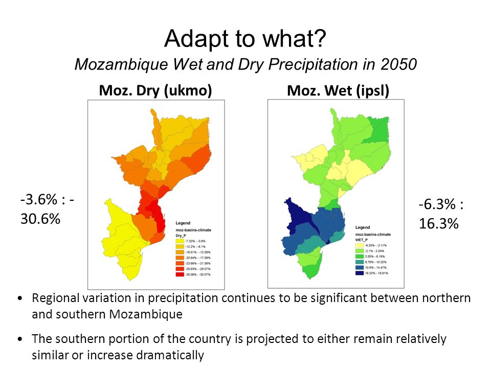 Adapt to what. Mozambique Wet and Dry Precipitation in 2050 Moz.