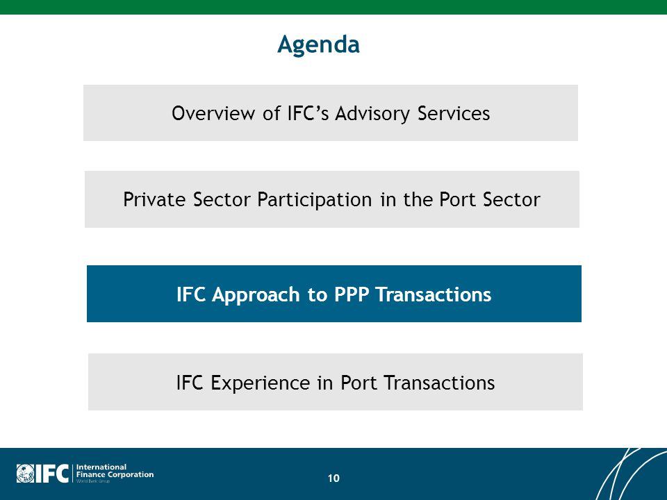 10 Overview of IFC's Advisory Services Private Sector Participation in the Port Sector Agenda IFC Approach to PPP Transactions IFC Experience in Port