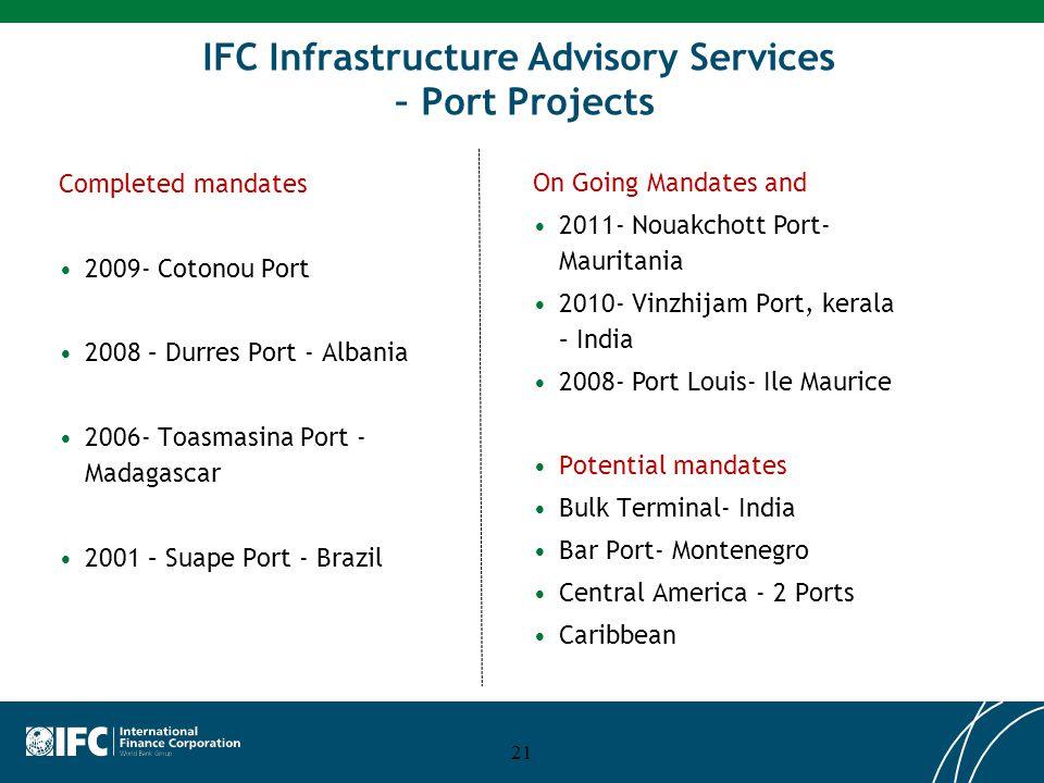 21 IFC Infrastructure Advisory Services – Port Projects Completed mandates 2009- Cotonou Port 2008 – Durres Port - Albania 2006- Toasmasina Port - Mad