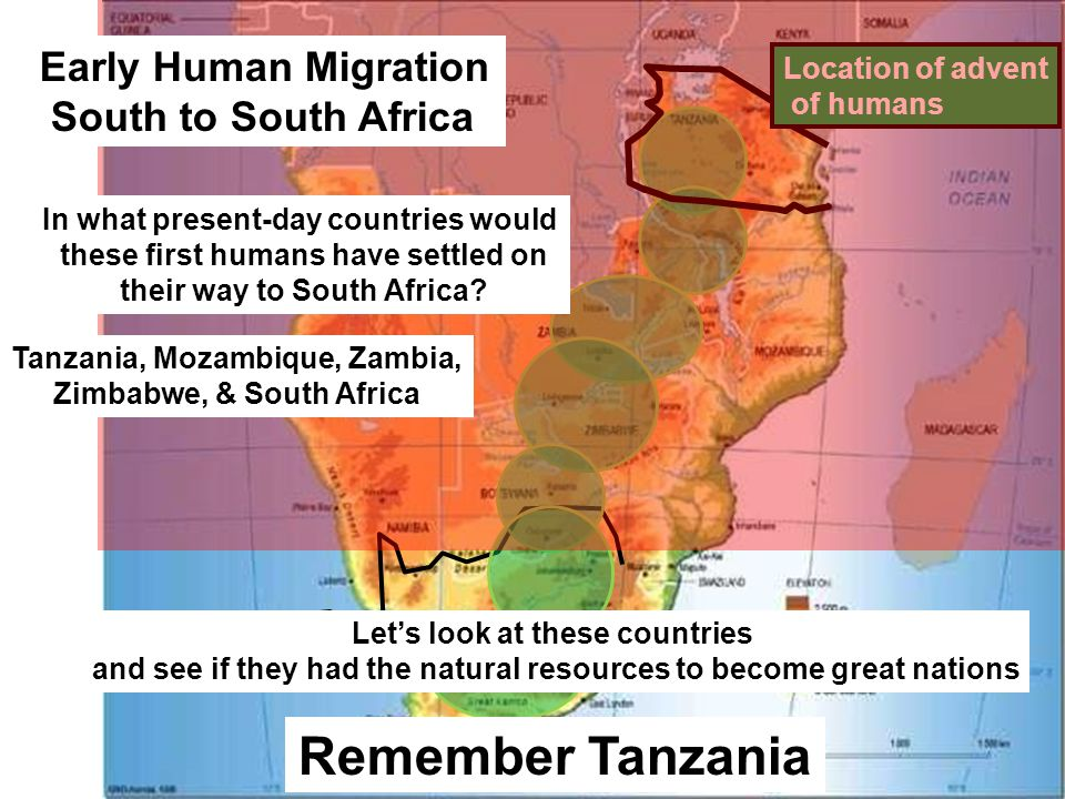 South Africa Let's look at these countries and see if they had the natural resources to become great nations Remember Tanzania Location of advent of humans Early Human Migration South to South Africa In what present-day countries would these first humans have settled on their way to South Africa.