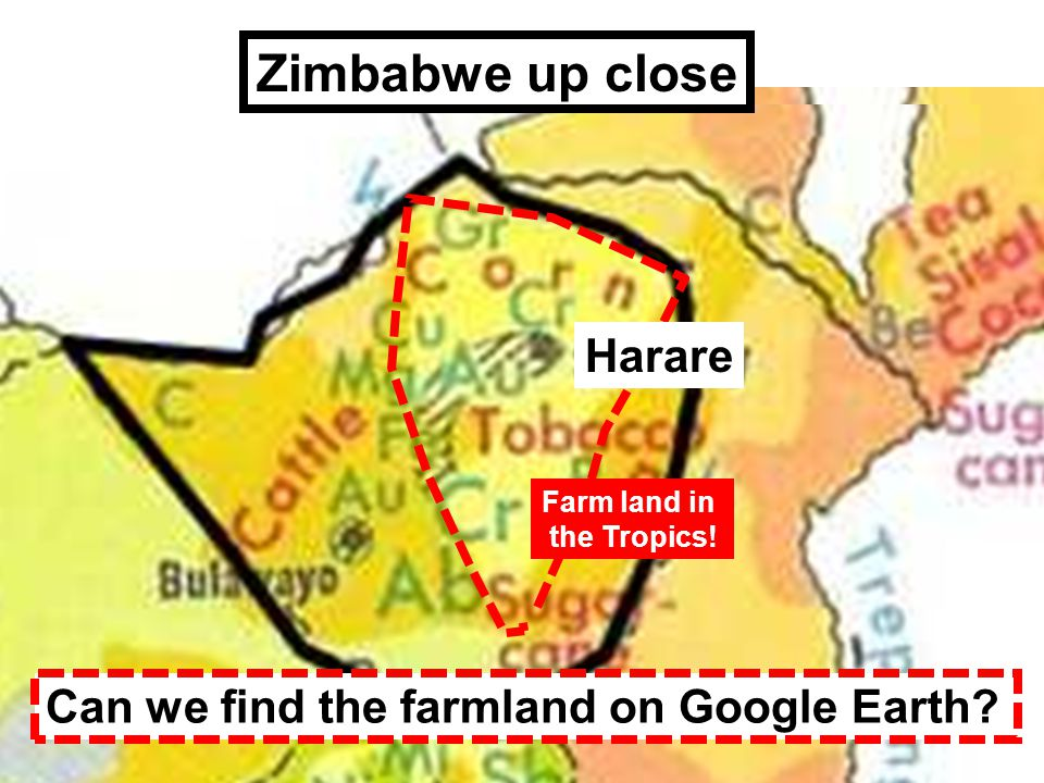 Harare Zimbabwe up close Farm land in the Tropics! Harare Can we find the farmland on Google Earth?