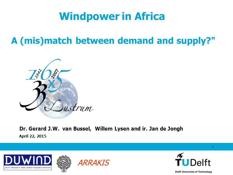 ARRAKIS April 22, 20152 Content Overview of wind developments world wide Situation in North and South Africa.
