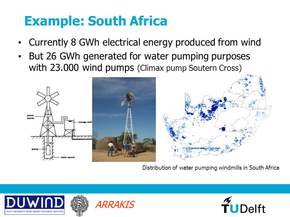 ARRAKIS Example: South Africa Currently 8 GWh electrical energy produced from wind But 26 GWh generated for water pumping purposes with 23.000 wind pumps (Climax pump Soutern Cross) Distribution of water pumping windmills in South Africa