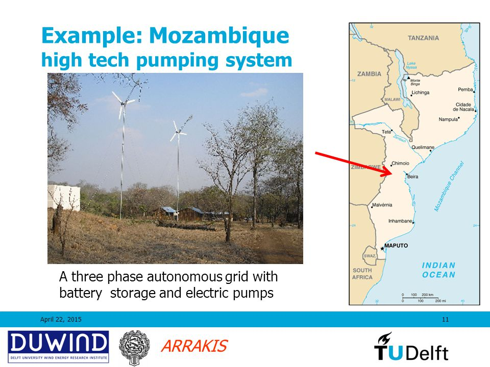 ARRAKIS April 22, 201511 Example: Mozambique high tech pumping system A three phase autonomous grid with battery storage and electric pumps