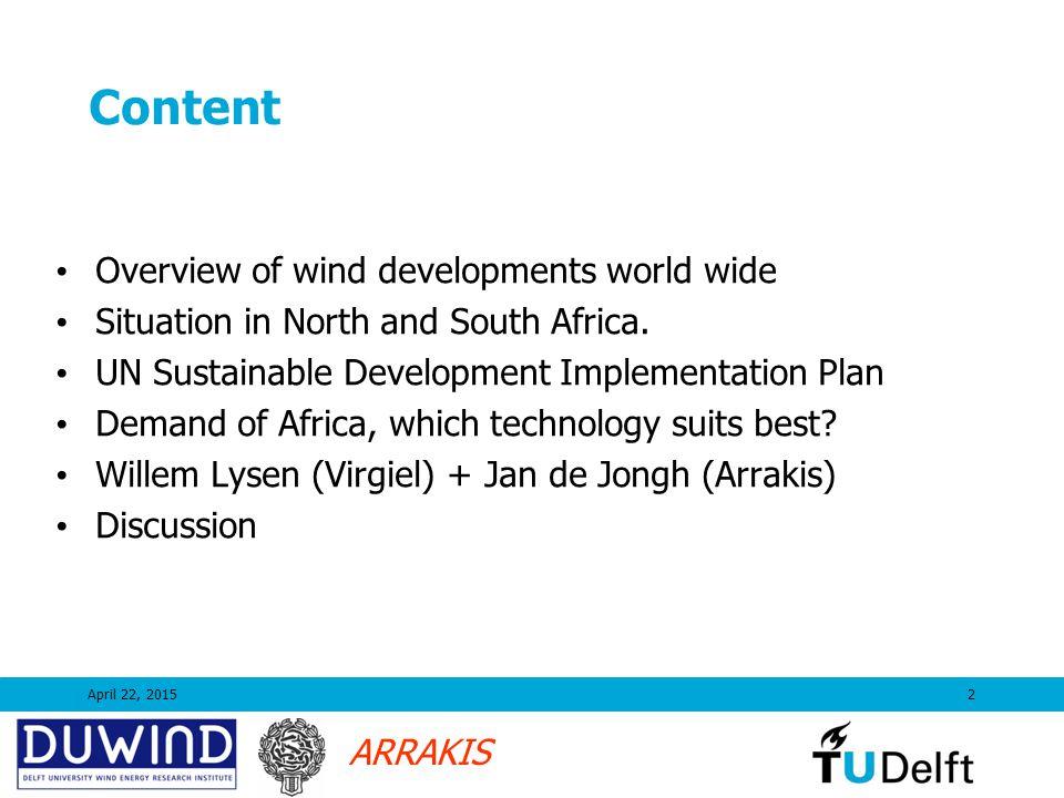 ARRAKIS Growth to 80 000 MW in Europe in 2010 (worldwide to 120.000 MW) 2005 Medio 2006 65.000 (W) 44.000 (E) Source EWEA 250 (Africa)