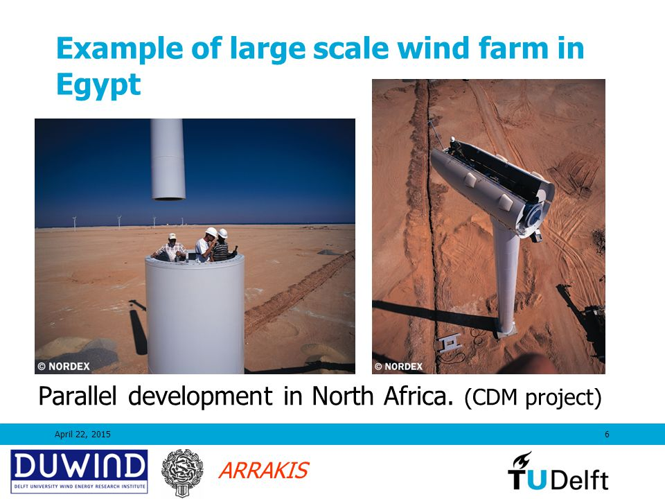 ARRAKIS April 22, 20156 Example of large scale wind farm in Egypt Parallel development in North Africa.