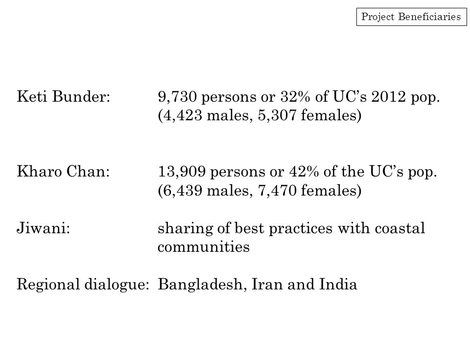 Project Beneficiaries Keti Bunder:9,730 persons or 32% of UC's 2012 pop.
