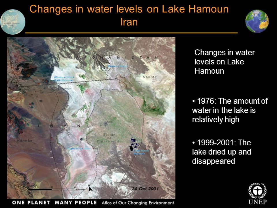 Changes in water levels on Lake Hamoun Iran Changes in water levels on Lake Hamoun 1976: The amount of water in the lake is relatively high 1999-2001: The lake dried up and disappeared