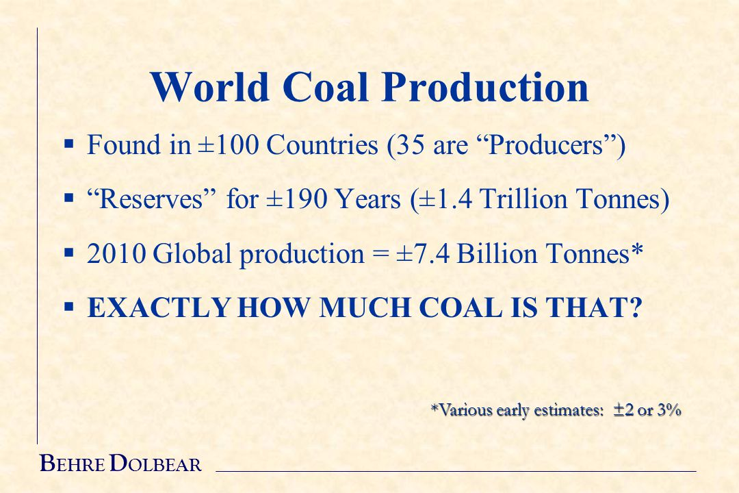 B EHRE D OLBEAR World Coal Production  Found in ±100 Countries (35 are Producers )  Reserves for ±190 Years (±1.4 Trillion Tonnes)  2010 Global production = ±7.4 Billion Tonnes*  EXACTLY HOW MUCH COAL IS THAT.