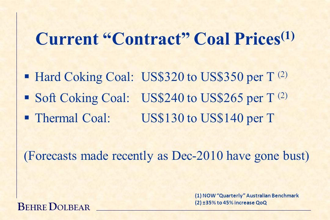 B EHRE D OLBEAR Current Contract Coal Prices (1)  Hard Coking Coal:US$320 to US$350 per T (2)  Soft Coking Coal:US$240 to US$265 per T (2)  Thermal Coal:US$130 to US$140 per T (Forecasts made recently as Dec-2010 have gone bust) (1) NOW Quarterly Australian Benchmark (2) ±35% to 45% increase QoQ