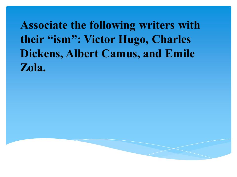 """Associate the following writers with their """"ism"""": Victor Hugo, Charles Dickens, Albert Camus, and Emile Zola."""
