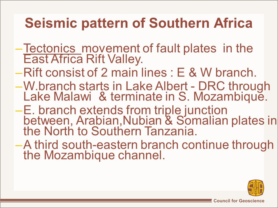 Seismic pattern of Southern Africa –Tectonics movement of fault plates in the East Africa Rift Valley.