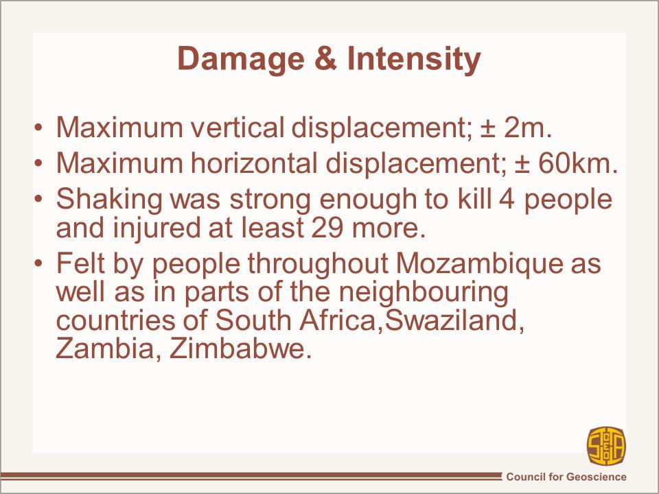 Damage & Intensity Maximum vertical displacement; ± 2m.