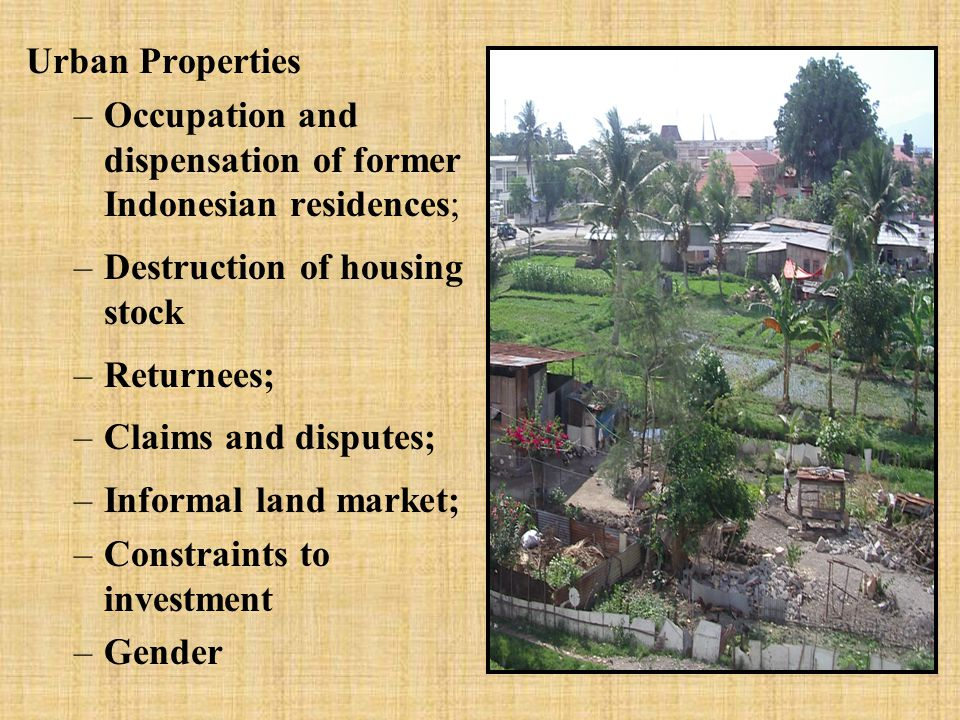 Rural Properties –Areas still occupied by East Timorese transmigrants; –Dispute resolution; –Legitimacy/availability of evidence for use in claims and disputes; –How is the informal land market operating currently; –Ability of Adat systems to resolve conflicts within and between communities, and vis a vis large commercial interests, incl.