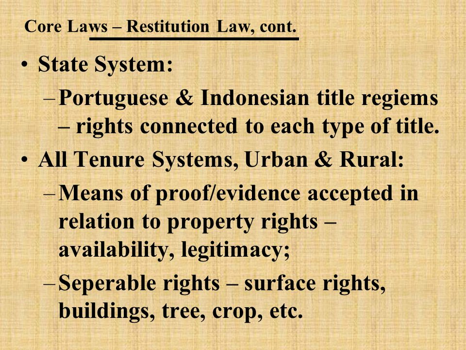 Core Laws – Restitution Law, cont.