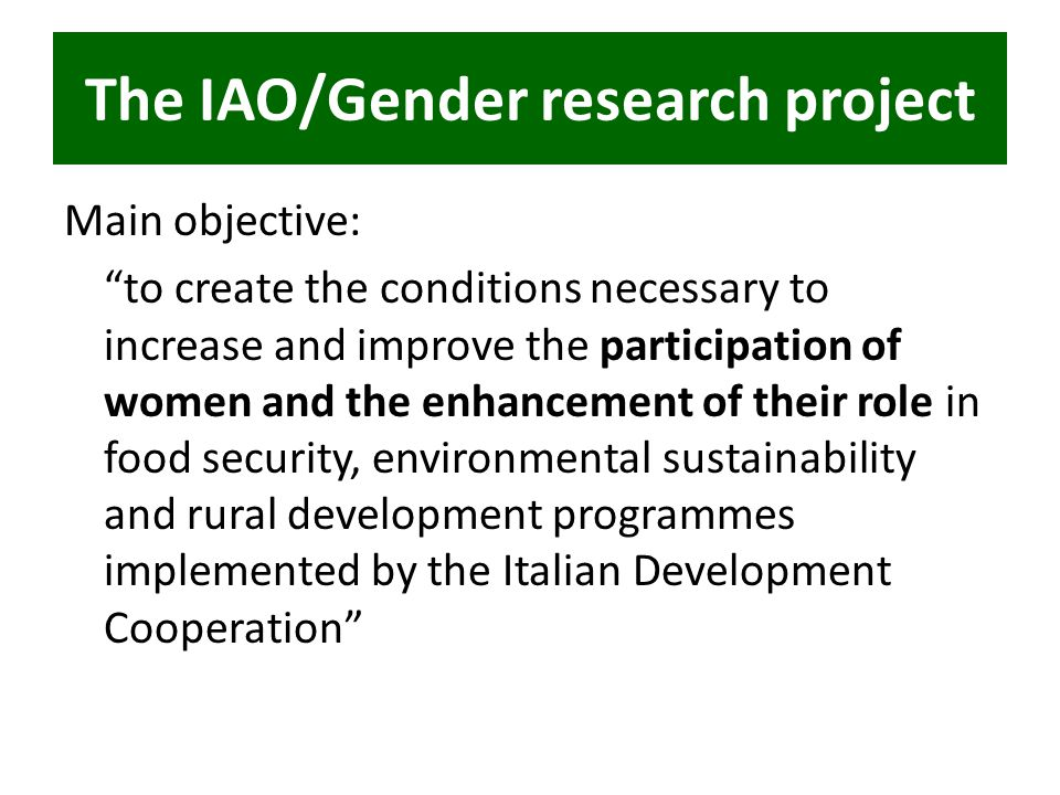"The IAO/Gender research project Main objective: ""to create the conditions necessary to increase and improve the participation of women and the enhance"