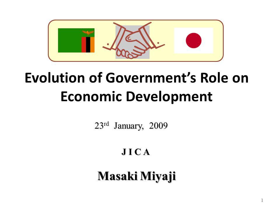 Evolution of Government's Role on Economic Development 1 J I C A 23 rd January, 2009 Masaki Miyaji