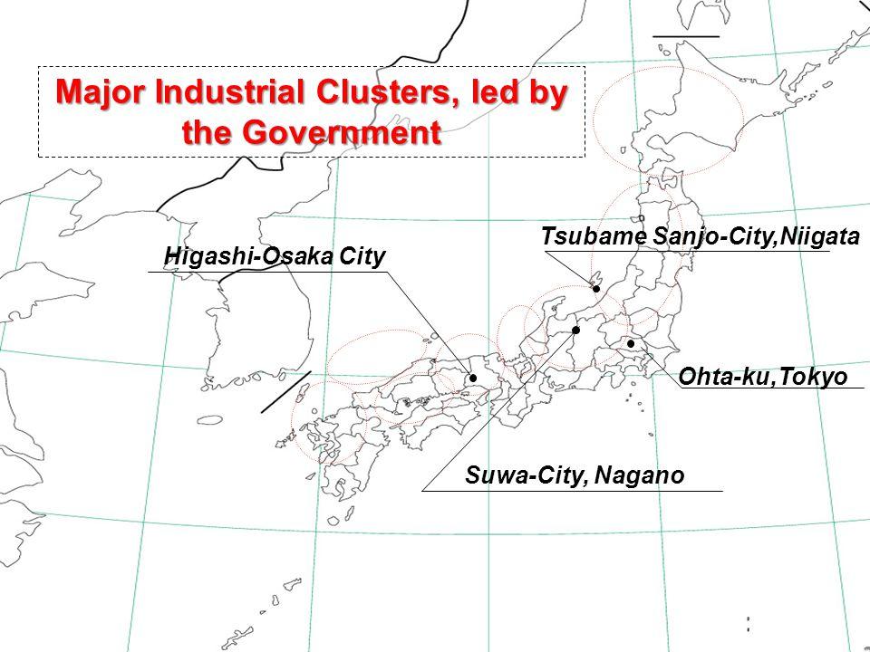 22 Major Industrial Clusters, led by the Government Tsubame Sanjo-City,Niigata Ohta-ku,Tokyo Suwa-City, Nagano Higashi-Osaka City 22