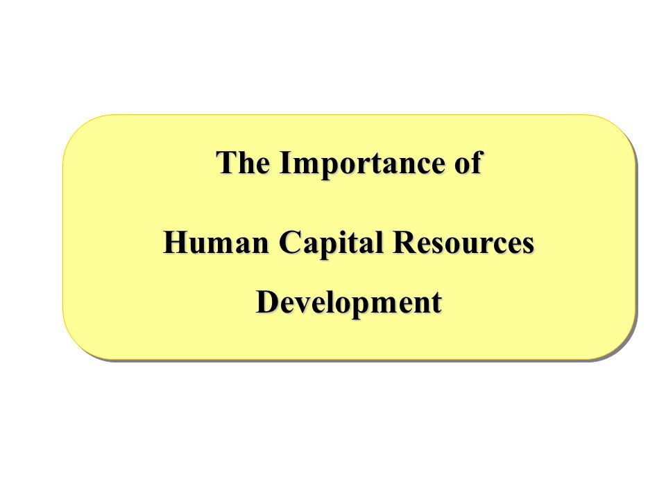 Development The Importance of Human Capital Resources Development