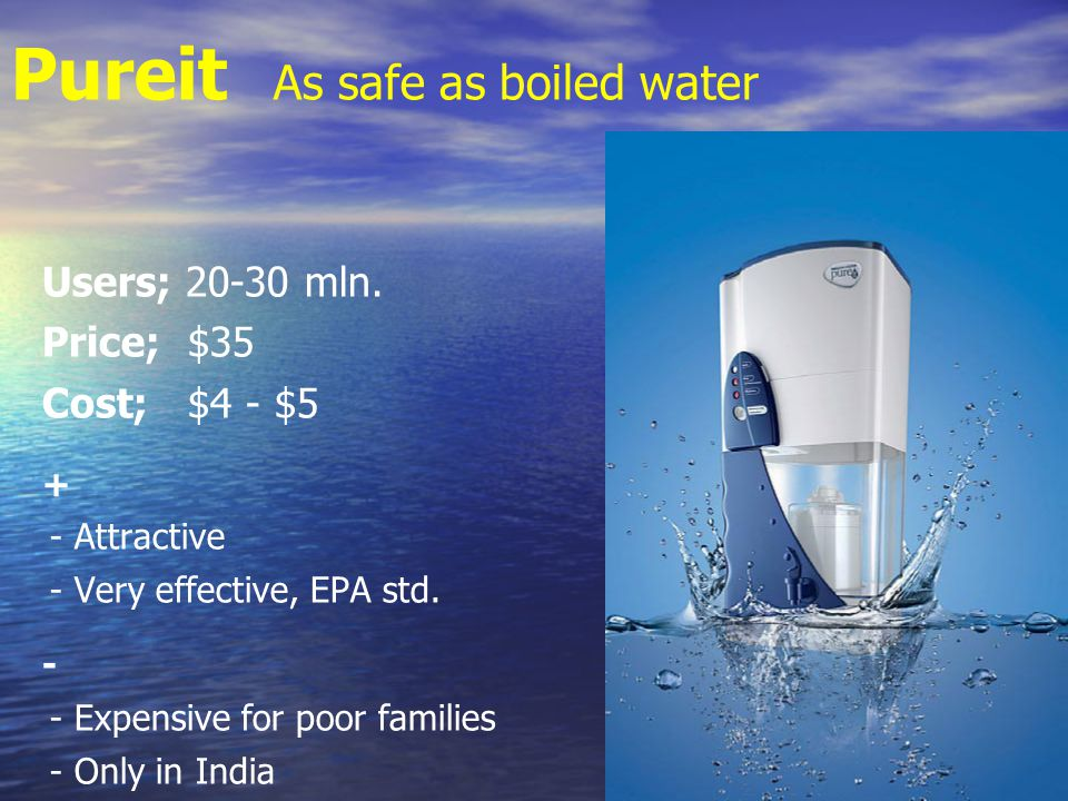 Pureit As safe as boiled water Users; 20-30 mln.
