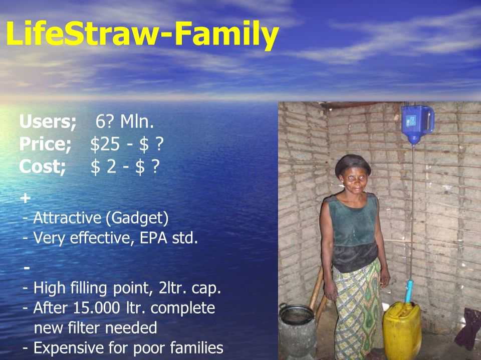 LifeStraw-Family Users; 6. Mln. Price; $25 - $ .