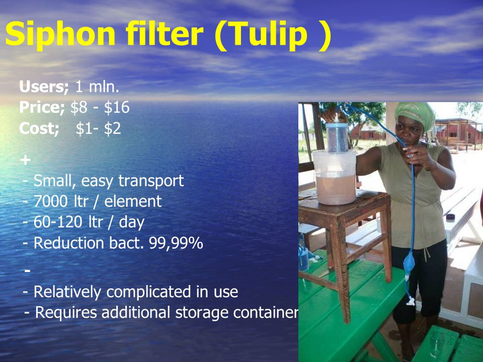 Siphon filter (Tulip ) Users; 1 mln.