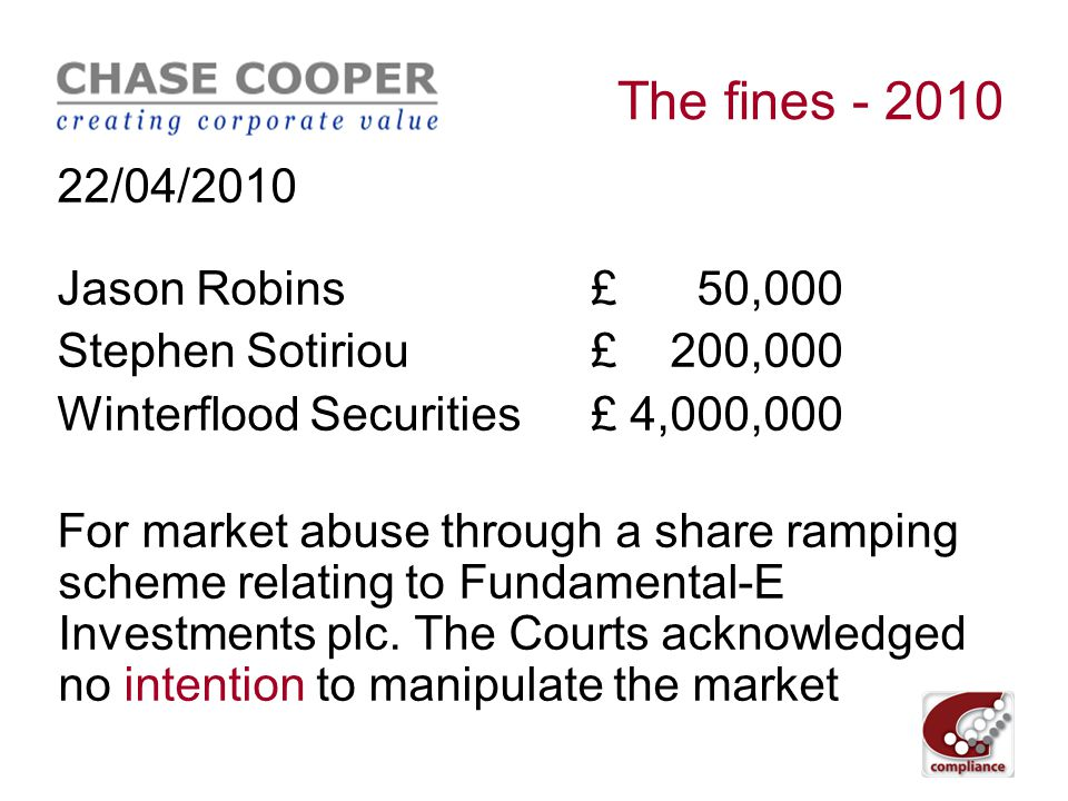 The fines - 2010 16/04/2010 Sameer Patel£ 95,000 + ban Robin Chhabra£ 180,541 + ban For using inside information acquired as a research analyst to carry out a series of profitable spread bets