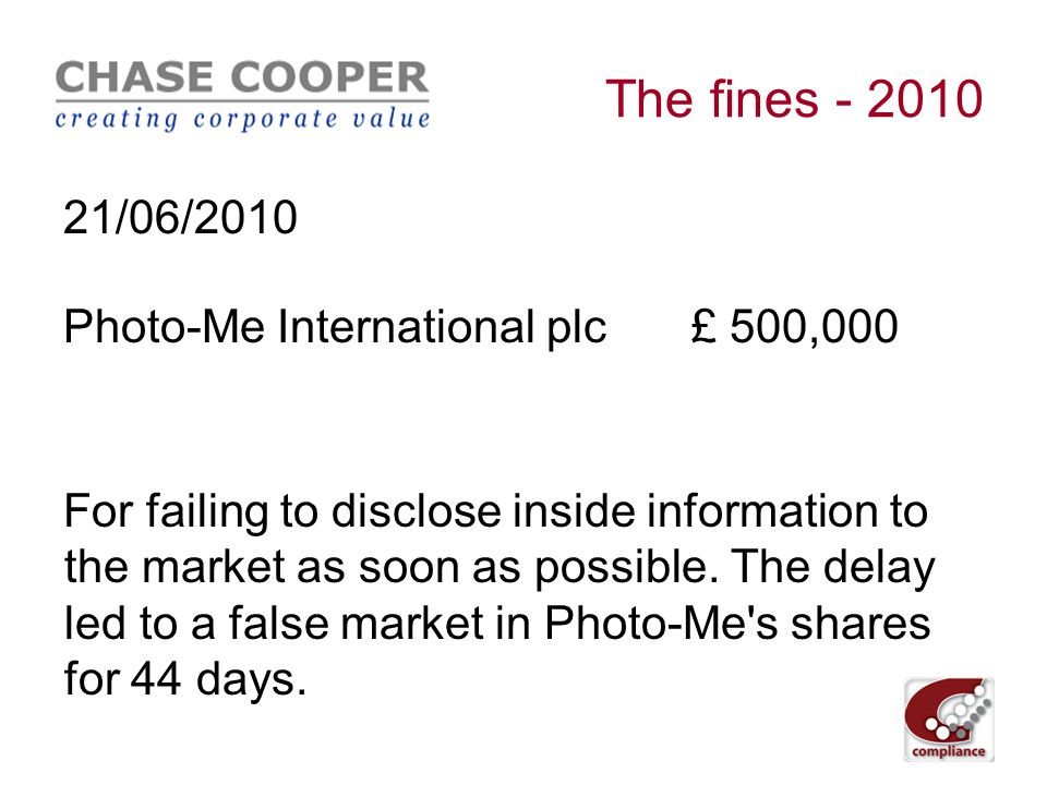 The fines - 2010 02/06/2010 Andrew Charles Kerr£ 100,000 + ban Deliberately manipulating the market in LIFFE traded coffee futures and the related coffee futures options, in order to benefit a client.