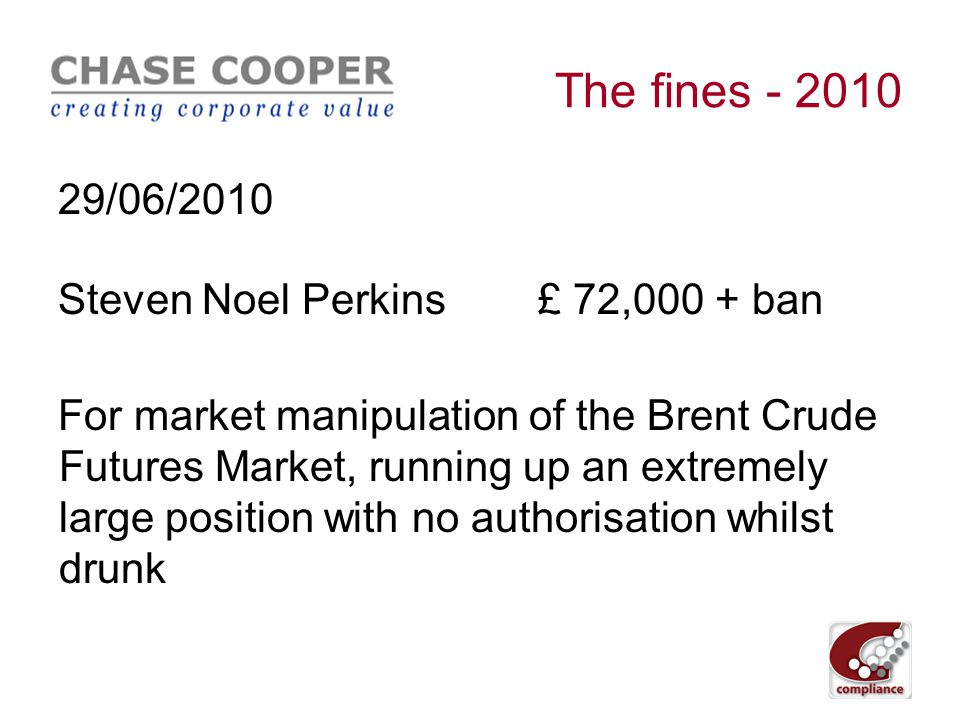 The fines - 2010 21/06/2010 Photo-Me International plc£ 500,000 For failing to disclose inside information to the market as soon as possible.