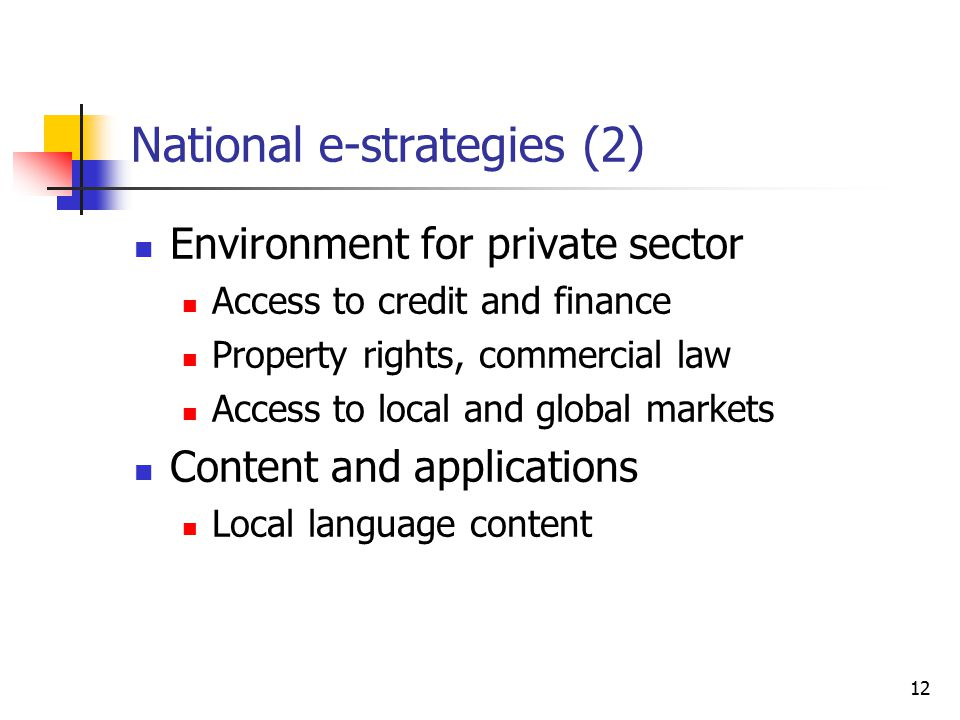 12 National e-strategies (2) Environment for private sector Access to credit and finance Property rights, commercial law Access to local and global markets Content and applications Local language content