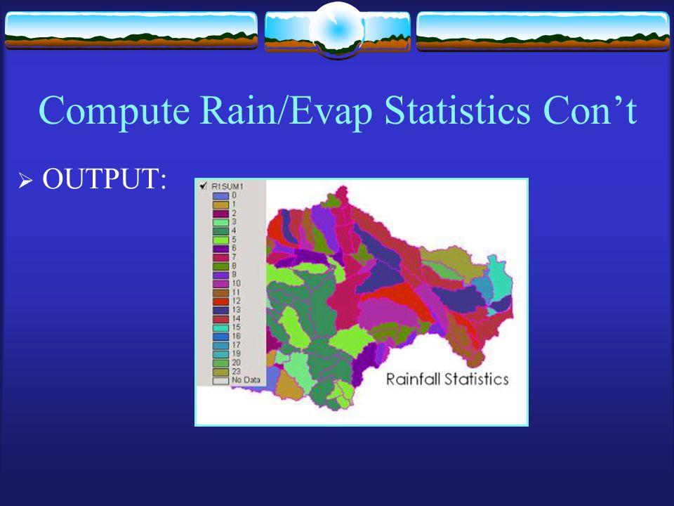 Compute Rain/Evap Statistics Con't  OUTPUT: