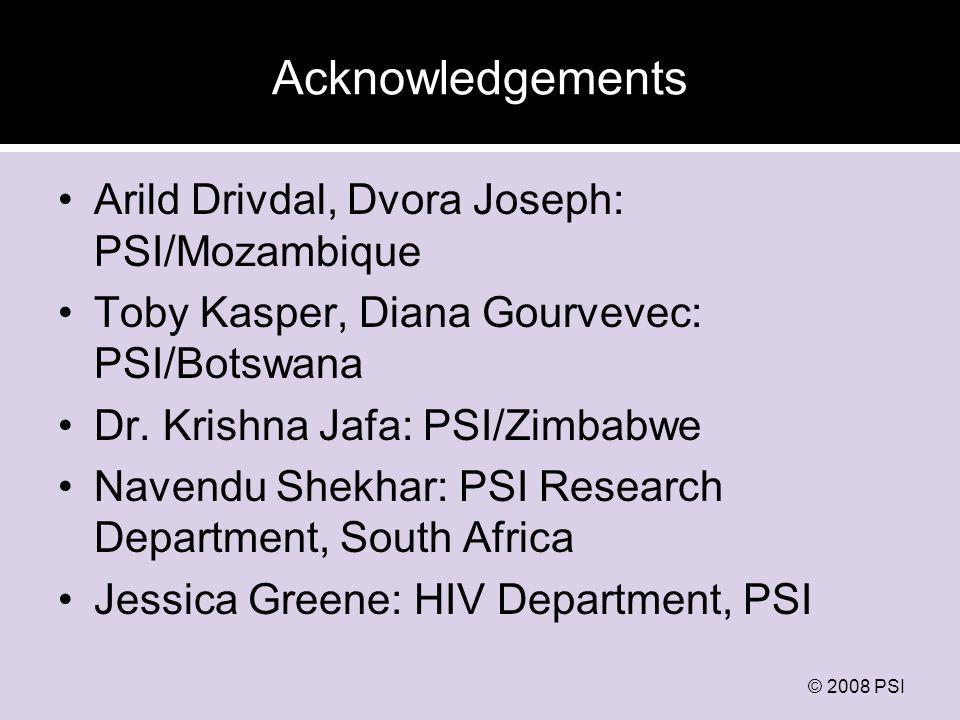 © 2008 PSI Acknowledgements Arild Drivdal, Dvora Joseph: PSI/Mozambique Toby Kasper, Diana Gourvevec: PSI/Botswana Dr.