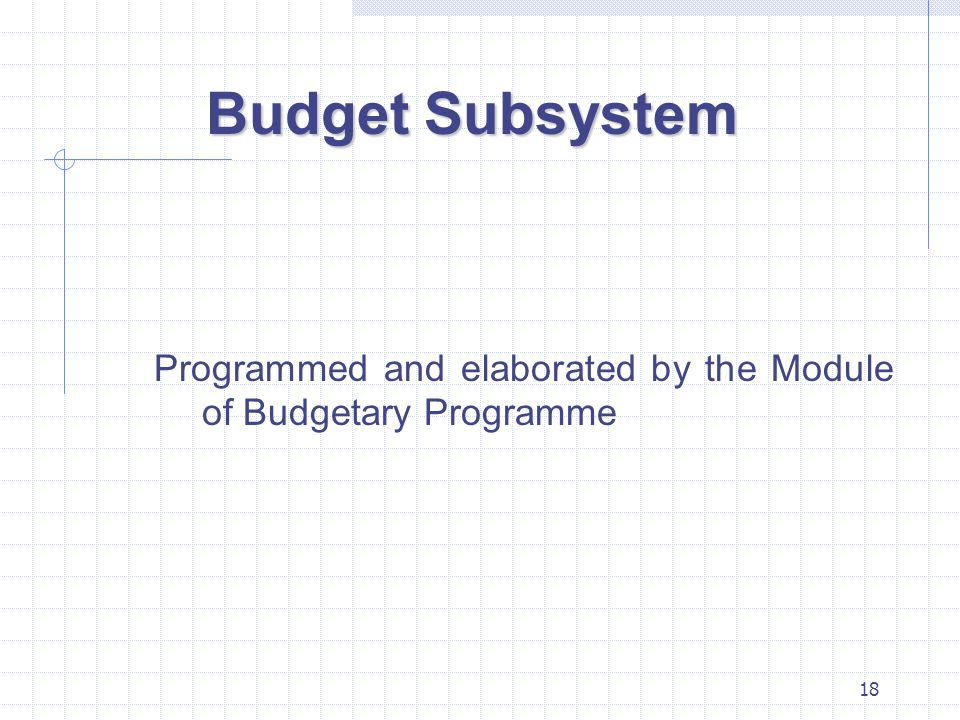 18 Budget Subsystem Programmed and elaborated by the Module of Budgetary Programme