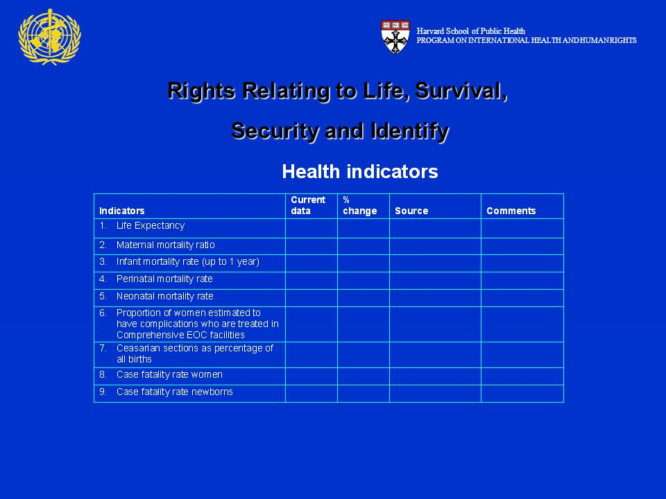 Rights Relating to Life, Survival, Security and Identify Harvard School of Public Health PROGRAM ON INTERNATIONAL HEALTH AND HUMAN RIGHTS