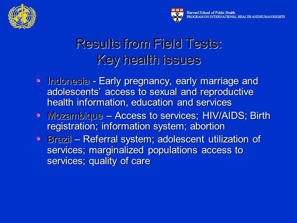 Results from Field Tests: Key health issues Indonesia - Early pregnancy, early marriage and adolescents' access to sexual and reproductive health info